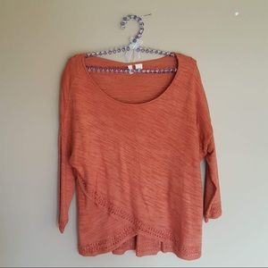 Athropologie: moth burnt orange sweater top small